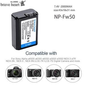 Image 3 - 4Pcs 2000mAh NP FW50 NP FW50 Batteria + LED USB Doppio Caricatore per Sony Alpha a6300 a6500 a7 7R a7R a7R II a7II NEX 3 NEX 3N NEX 5