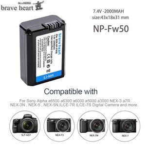 Image 3 - 4Pcs 2000mAh NP FW50 NP FW50 Batterie + LED USB Dual Ladegerät für Sony Alpha a6500 a6300 a7 7R a7R a7R II a7II NEX 3 NEX 3N NEX 5