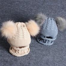 2PCS Kid Baby Cap Knitting Wool Hemming Keep Warm Winter Hiarball Hat +Scarf Set