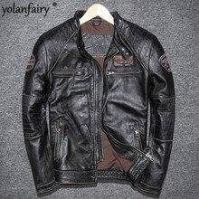 YOLANFAIRY Geniune Leather Jacket for Men Pure Cow Leather Vintage Jack