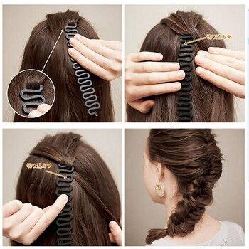 1 pièces noir facile à utiliser poids léger outil de tressage cheveux torsion Braider avec crochet bord de cheveux torsion bigoudi outil de coiffure chignon