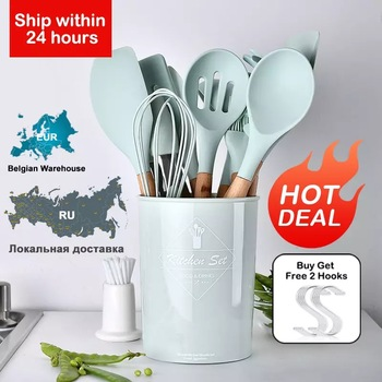Silicone Kitchenware Cooking Utensils Set Heat Resistant Kitchen Non-Stick Baking Tools With Storage Box - discount item  39% OFF Kitchen,Dining & Bar