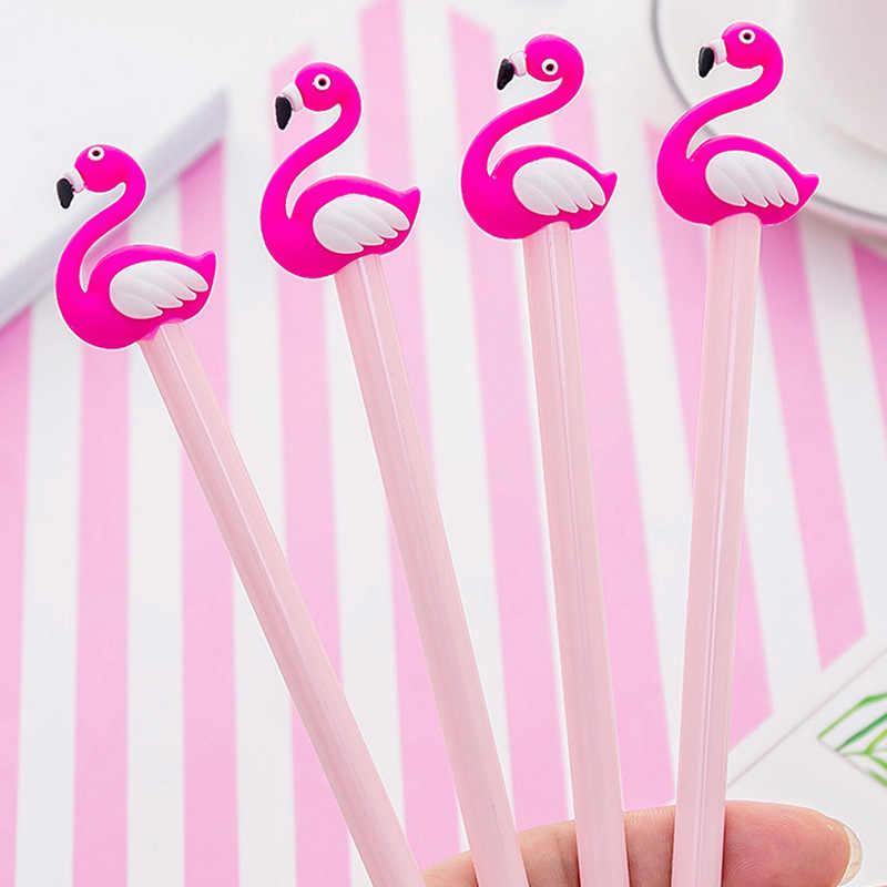 2 PCS Kawaiiการ์ตูน 0.38 มมปากกาLucky Pink Flamingoปากกาเจลปากกาลายเซ็นEscolar PapelariaโรงเรียนOffice Supply