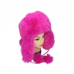Оптовая Продажа Милая пушистая зимняя шапка-ушанка из натурального меха шапка русская меховая шапка женская розовая шапка