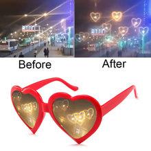 Amor efeitos em forma de coração óculos de relógio luzes mudar a forma do coração à noite difração óculos de sol moda feminina