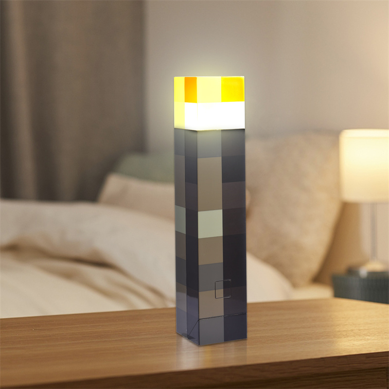 11.5 Inch Brown Stone Torch Light LED Lamp USB Rechargeable Rectangle Night Light For Bedroom Bedside Lights Lighting Light up
