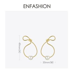 Image 4 - ENFASHION מתכת תיק צורת פרל Drop עגילים לנשים זהב צבע פשוט Curve להתנדנד עגילי תכשיטים Oorbellen E191128