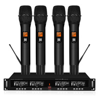 Professional UHF wireless stage microphone system 4 channel 4 lavalier cordless microphone microphone headset with receiver|Microphones| |  -