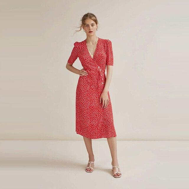 Vintage Rouje Gabin Dress With Sashes V Neck 3