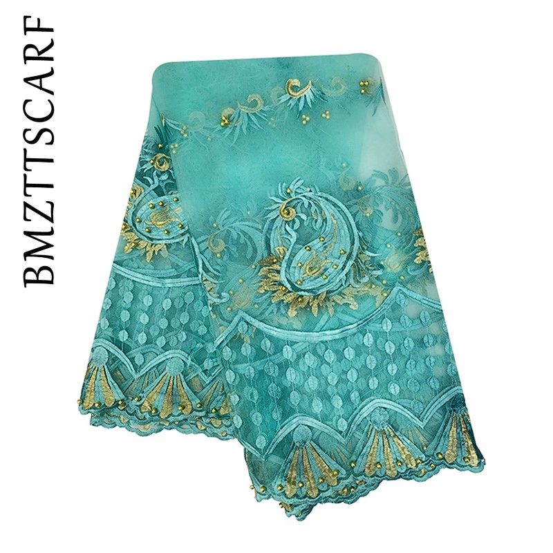 New African Headscarf Muslim Women Net Scarf Net Match Cotton Embroidered With Beads For SHAWLS PASHMINA BM913