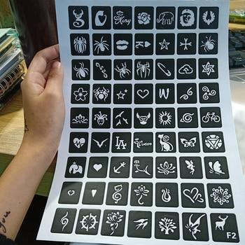 Henna Tattoo Stencils Glitter Stencil Woman Girl Kids Drawing Template Small Cute Flower Butterfly Cartoon