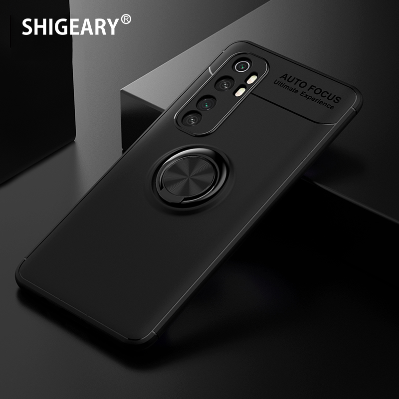 Xiaomi Mi <font><b>Note</b></font> 10 Lite <font><b>Case</b></font> Soft Silicone back Phone Cover Xiomi Redmi 10X Pro 5G 4G <font><b>Note</b></font> <font><b>9</b></font> <font><b>Cases</b></font> <font><b>with</b></font> Metal Finger <font><b>Ring</b></font> Stand image