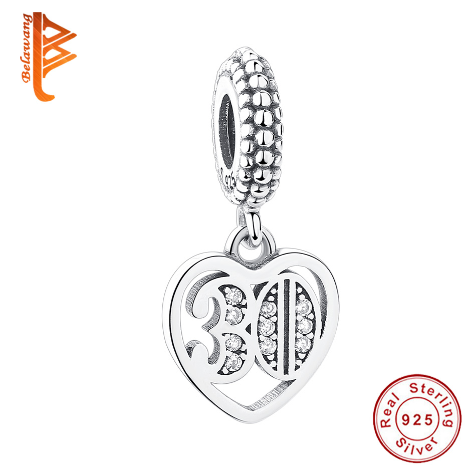 Wholesale European 30 Years Age Pendant 925 Sterling Silver Clear CZ Charm Fits Pandora Charm Silver Jewelry Accessories