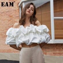 [EAM] Women White Ruffles Split Joint Blouse New Slash Neck Short Sleeve Loose Fit Shirt Fashion Tide Spring Summer 2021 1U703