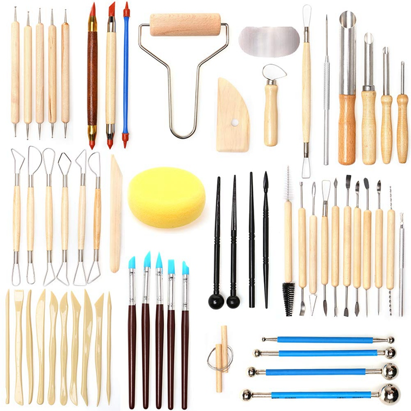 61PCS Ceramic Clay Tools Set Polymer Clay Tools Pottery Tools Set Wooden Pottery Sculpting Clay Cleaning Tool Set