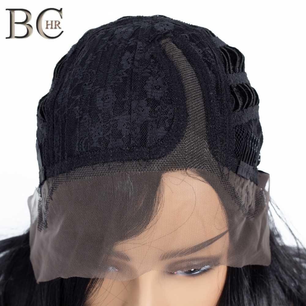 BCHR długa fala 13*4 koronkowa peruka na przód czarne peruki syntetyczne dla kobiet Glueless przedziałek z boku koronki włosów peruka