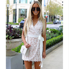 Autumn Women Lace Dress Sexy V-neck Beach Dresses 2019 Fashion Sleeveless White Casual Mini Sundress