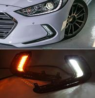 Dönüş sinyali ve karartma tarzı röle 12V LED araba DRL gündüz farları Hyundai Avante reklam Elantra 2016 2017 Krom Şekillendirici Otomobiller ve Motosikletler -