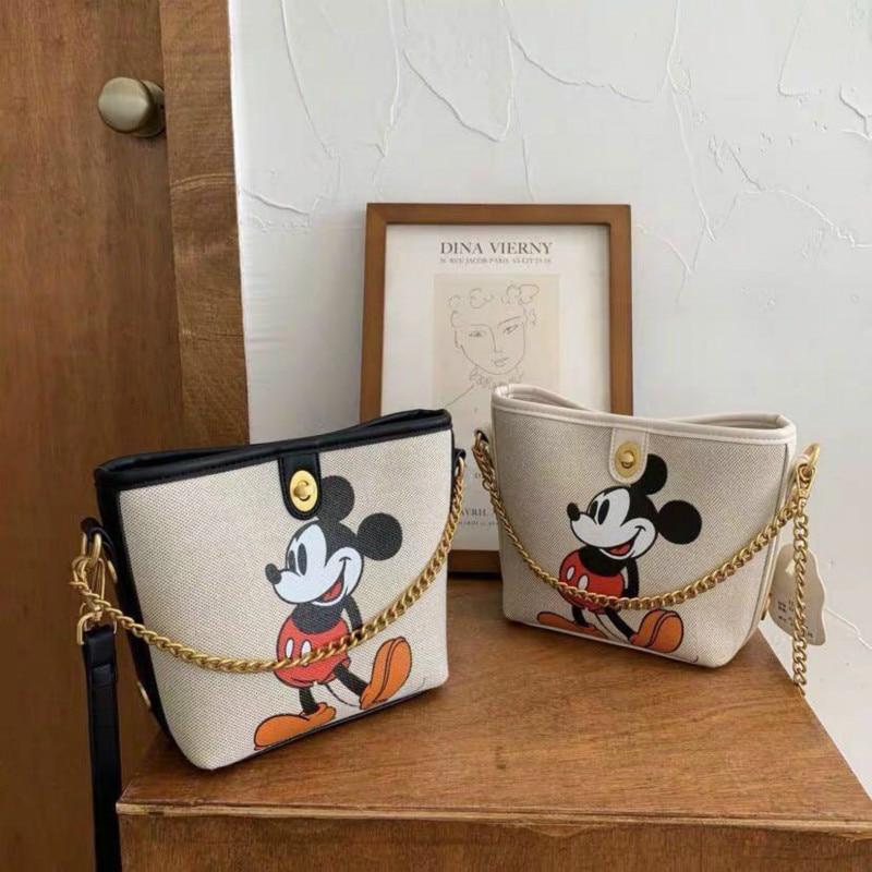 Disney Mini Bag Retro Shoulder Bag Mickey Mouse Canvas Bag Women Casual Wild Chain Tote Handbags