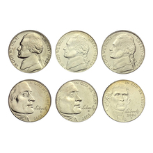 United States 5 cents Jefferson Commemorative Coin 6pieces/full Set Unc Real Original Coins Collection недорого