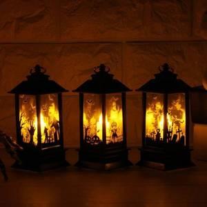 Image 2 - 4 Máy Tính Trang Trí Halloween Giáng Sinh Treo Chống Đỡ Đèn Nến LED Đèn Vintage Lâu Đài Bát Bí Ngô Lồng Đèn Ngọn Lửa Đèn Dự Tiệc Cung Cấp