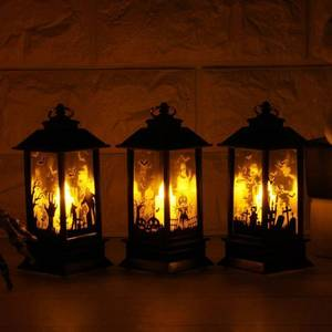 Image 2 - 4PC Halloween Decoration Christmas Hanging Prop Led Candles Light Vintage Castle Bat Pumpkin Lantern Flame Lamp Party Supplies