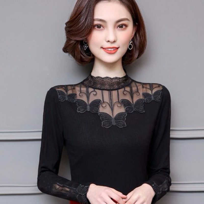 Women Spring Summer Style Sexy Lace Blouses Shirts Lady Casual Long Sleeve Hollow Out Lace Blusas Tops DF3073
