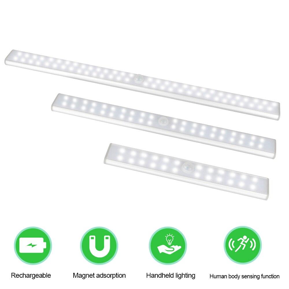24/40/60 LED s PIR lumière de détecteur de mouvement LED sans fil armoire armoire lampe LED sous armoire veilleuse placard escaliers cuisine