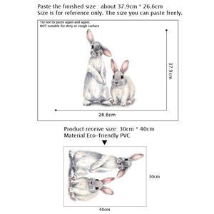 Image 2 - Dwa słodkie króliki naklejki ścienne dla dzieci dla dzieci pokój dekoracji wnętrz zdejmowane tapety salon mural do sypialni bunny naklejki
