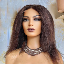 100% Human Hair Wigs Color #30 Kinky Straight Wig 150% For Black Women Brazilian Remy Hair Middle Part T Lace bleached knots Wig