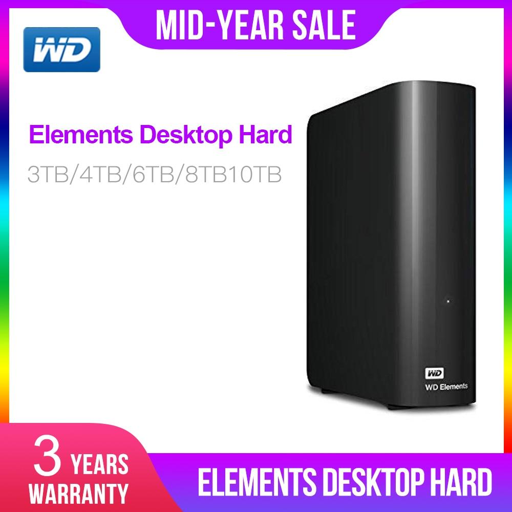 Western Digital 3TB 4TB 6TB 8TB 10TB Elements Desktop Hard Drive USB 3.0 Disco Duro Externo 4tb WDBWLG0080HBK-NESN