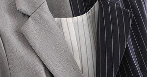 Image 3 - [Eam] ルーズフィット黒ストライプスプリットジョイント包帯ジャケット新ラペル長袖女性のコートのファッション潮春秋2020 JZ065