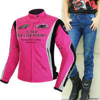 Summer Women Pink Motorcycle Jacket & Pants Suit Jacket Breathable Mesh Touring Motorbike Clothing Set Protective Gear Jeans PK