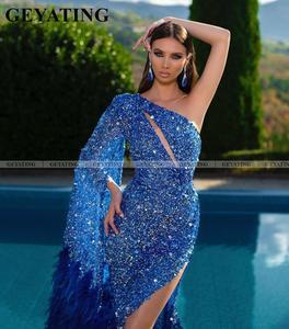 Image 2 - Sparkle Royal azul estilo sirena sin un hombro vestidos de graduación con partido Esmeralda verde plumas africanas mujeres vestidos de noche formales 2020