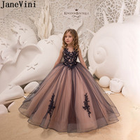 JaneVini Black Lace Flower Girl Dress Long Little Girls Ball Gown Dress Kids Tulle Party Gowns robe enfant fille mariage 2020