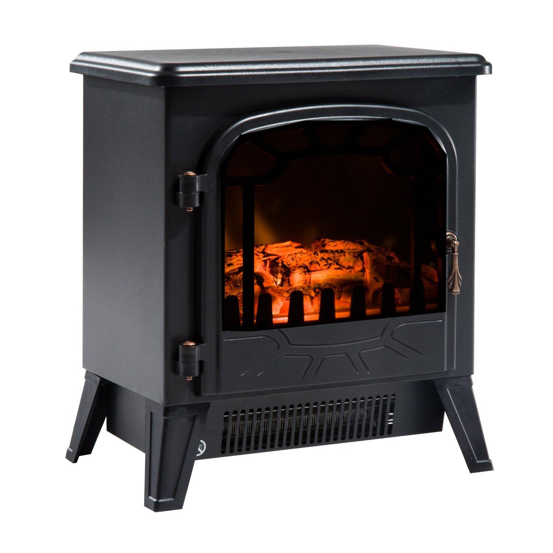 HOMCOM Fireplace Electric Adjustable Power 900 W/1800 W With Flame Effect Black 36x25.5x41.5 Cm Black