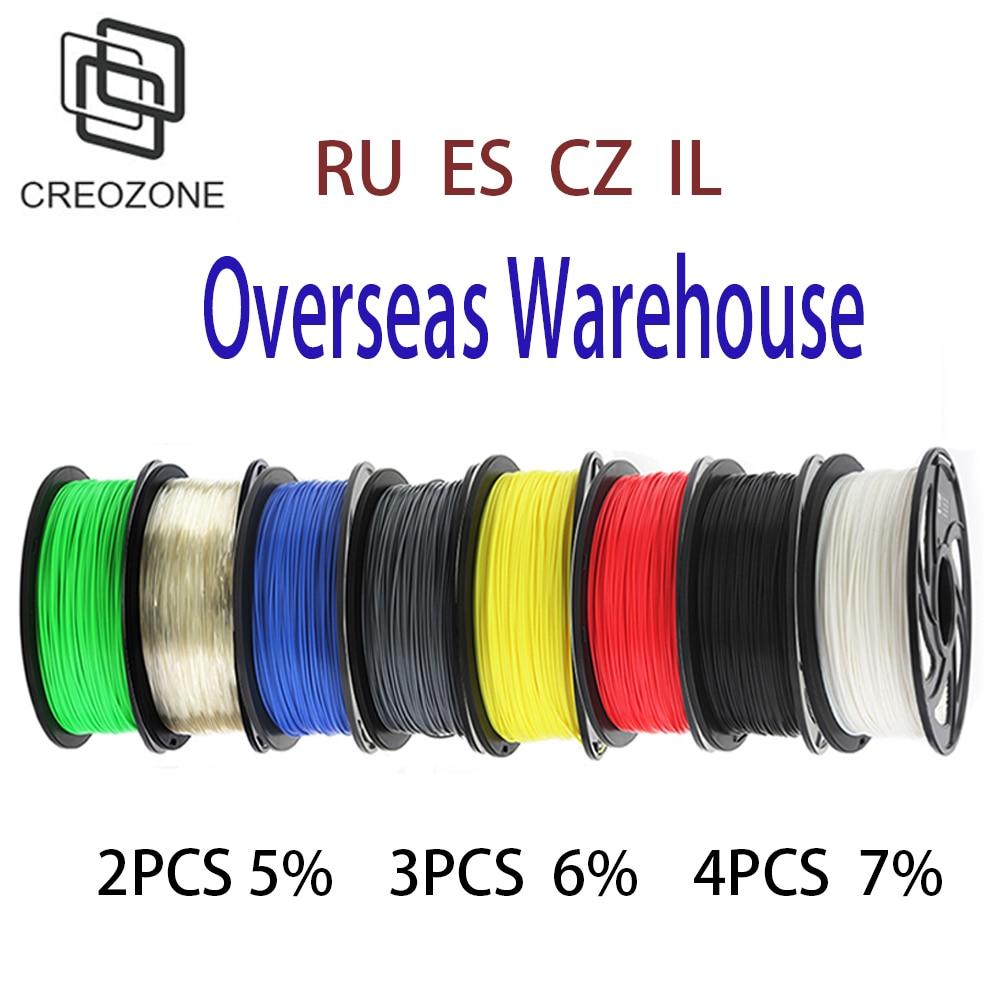 CREOZONE – Filament pour imprimante 3D, 1.75mm, 1KG PLA, Nylon ABS, bois, TPU PETG Carbon ASA GLOW PC, Filament plastique 3D, entrepôt à l'étranger