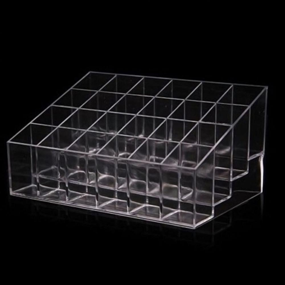 24 Compartment Transparent Cosmetics Display Stand Lipstick Organizer Case