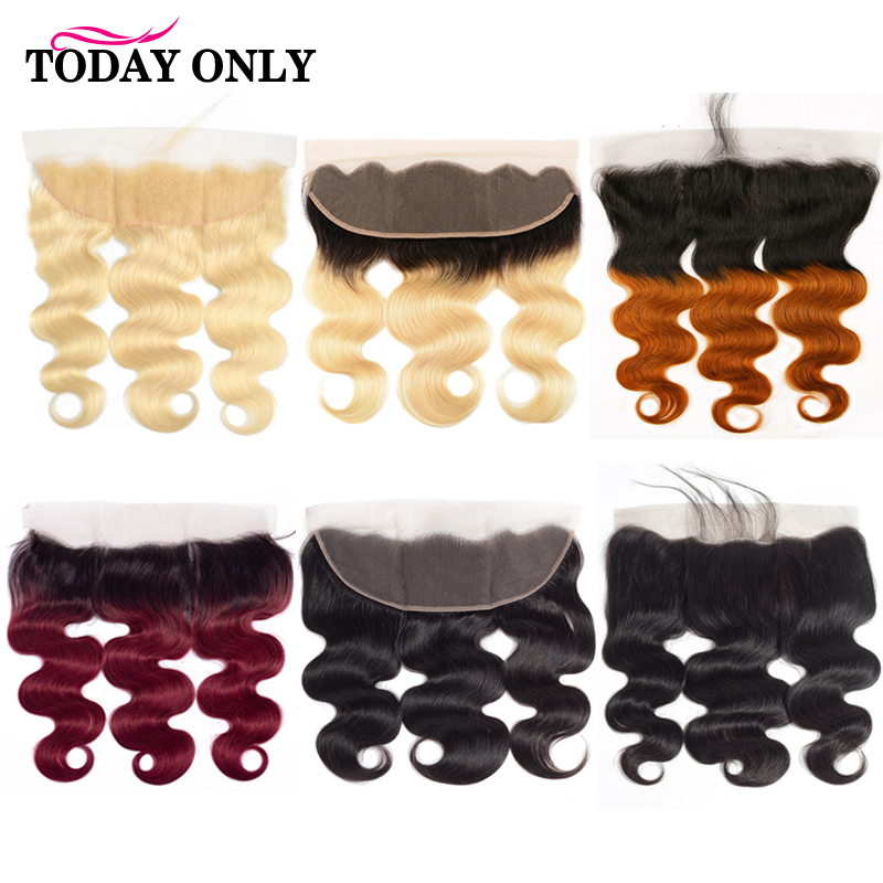 Pre Plucked 13x4 Lace Frontal Closure Brazilian Body Wave Human Hair Lace Closure Ear to Ear Ombre Burgundy 613 Frontal Remy image