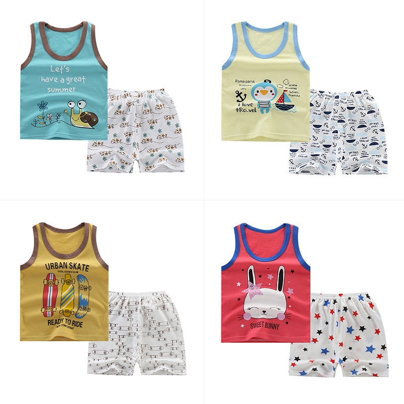 Summer Toddler Girl Clothes Baby Boy Suits Set Boys Girls Cartoon Vest Clothes Cotton Sleeveless Sports T Shirts Boys Clothes