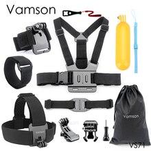 Vamson حزام الرأس لـ Gopro Hero 9 ، 8 ، 7 ، 6 ، حزام الصدر ، الخوذة ، حزام المعصم لـ SJ4000 لـ Yi 4K VS71
