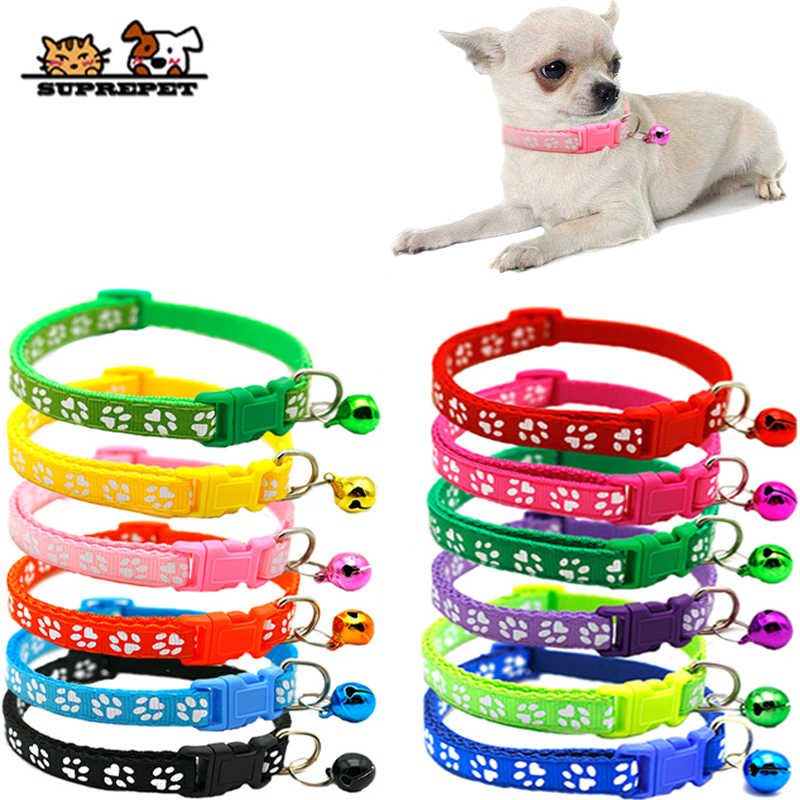 SUPREPET Pet Dog Cat Collar Adjustable Buckles With Bell Cat Collar Pet Supplies Accessories for Small Dog Chihuahua Bulldogs