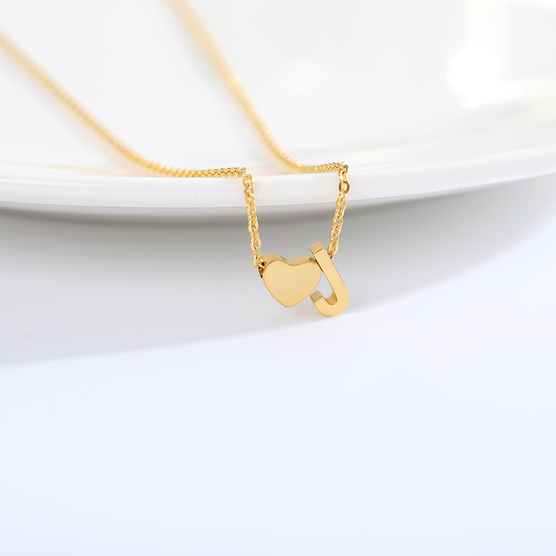 Hot Sale Simple Women Letter Necklace Girl Heart Shape Pendant Chain Adjustable Stainless Steel Gold Sliver Elegant Gift Jewelry