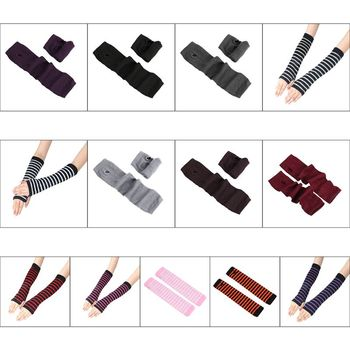 Women Girls Knitted Fingerless Long Gloves Stripes Printed Over Elbow Length Winter Stretchy Arm Warmer Sleeves with Thumb Hole - discount item  23% OFF Gloves & Mittens