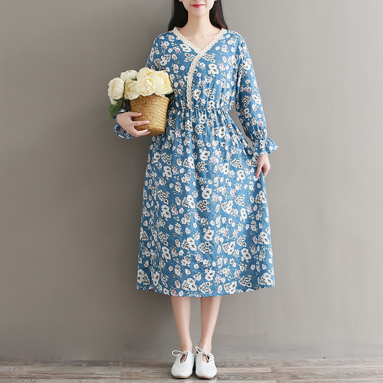 WOMEN'S Dress 2018 Spring New Style Mori Girl Students Large Size Printed Cotton Long-sleeved Dress