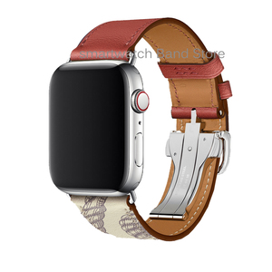 Image 4 - For Apple Watch 6 Band Strap 5 4 3 2 1 44mm 40mm 42mm 38mm Genuine Leather with Herm Logo Bracelet for iWatch Bands Accessories