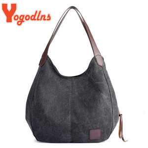 Yogodlns Vintage Canvas Handbag Women Large Capacity Shoulder Bag Casual Handle Bag 2020 Fashion Hot Lady Shopping Handbag bolso