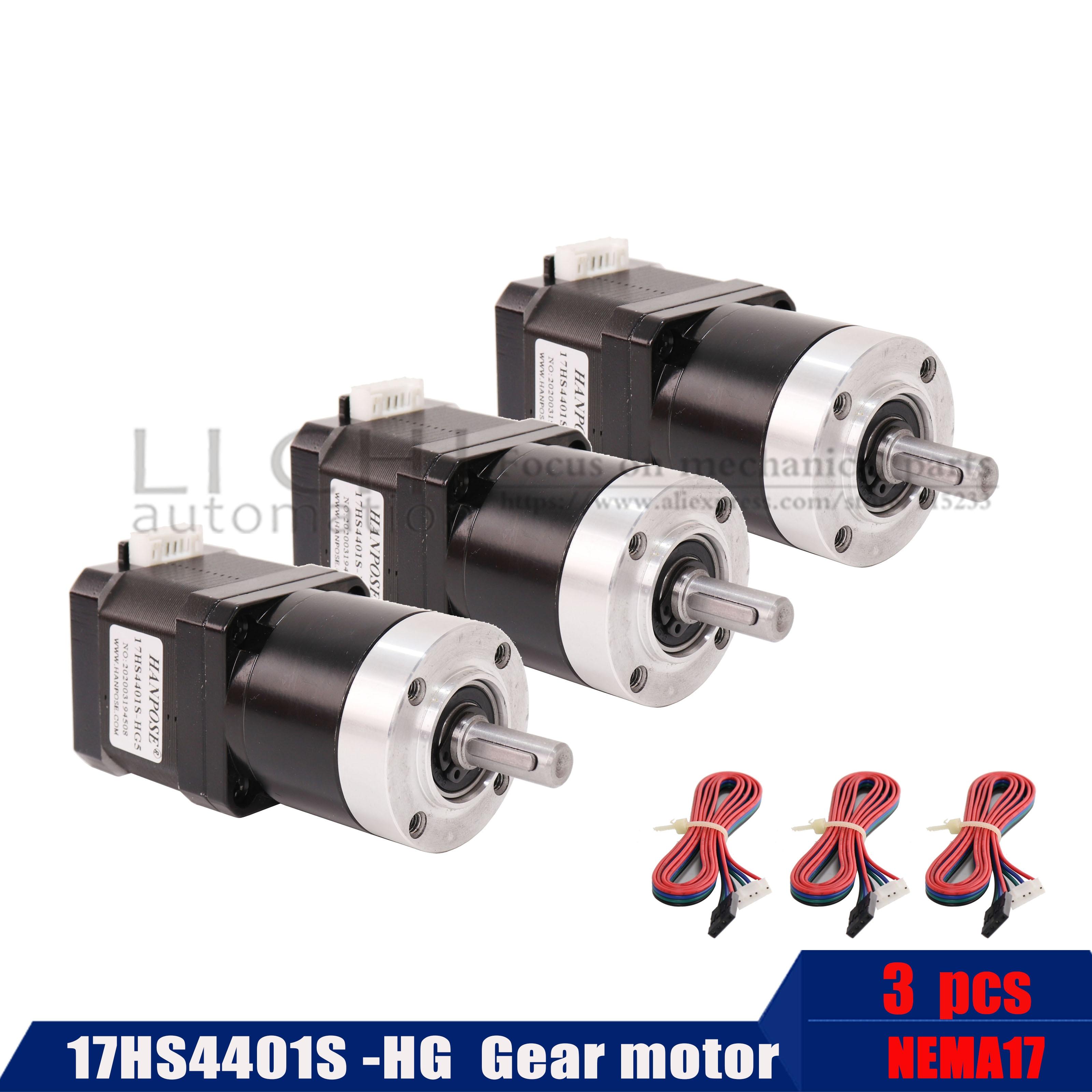 3pcs high precision reduction motor 17hs4401s Hg 42 motor body length 40mm planetary transmission ratio Hg 5-110-1