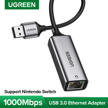 UGREEN adaptador Ethernet USB 3,0 USB 2,0 tarjeta de red a RJ45 Lan de Windows para Windows 10 Xiaomi Mi Recuadro 3 S Nintend interruptor de Ethernet USB