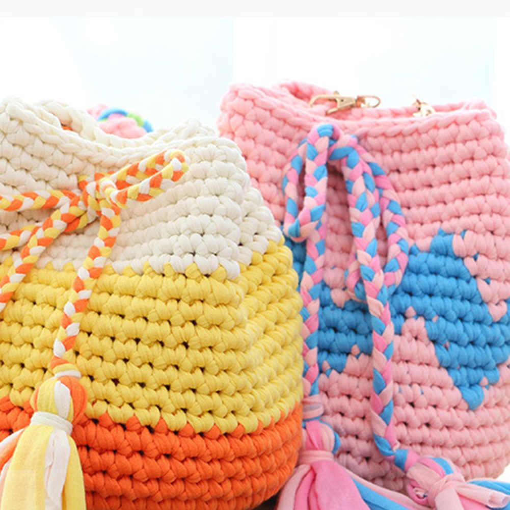 32m de Color sólido suave hilo de ganchillo hilo de tejer hilo de tela manualidades de algodón lana de tejer alfombra bolso manos hilo de cocina